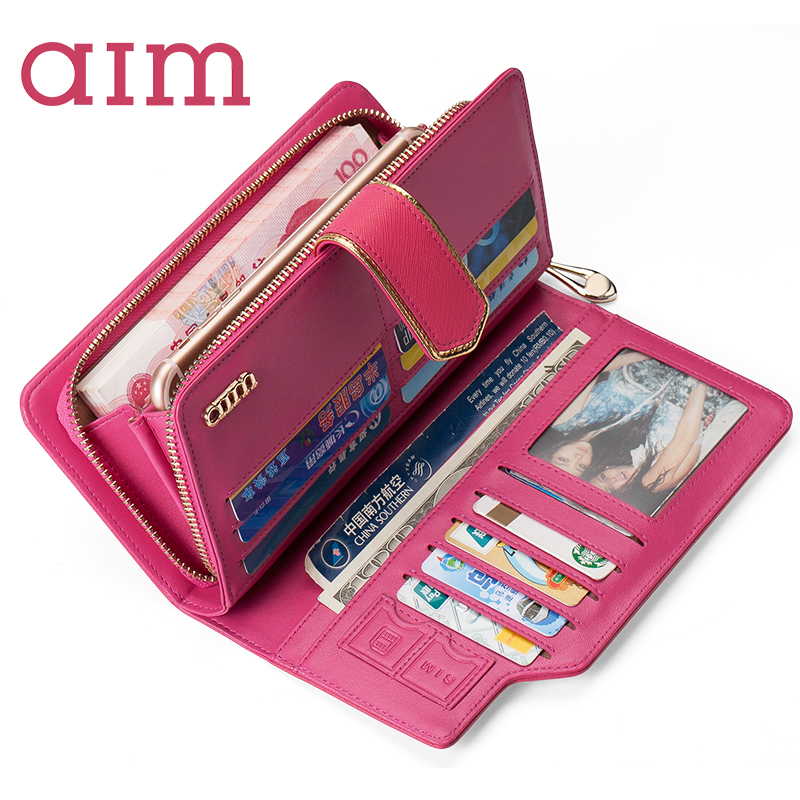AIM Fashion Long Women Wallet Leather Clutch Purse Female Zipper Hasp Wallets Luxury Brand 2017 New Design Girl Card Holder N101 new fashion women leather wallet deer head hasp clutch card holder purse zero wallet bag ladies casual long design wallets