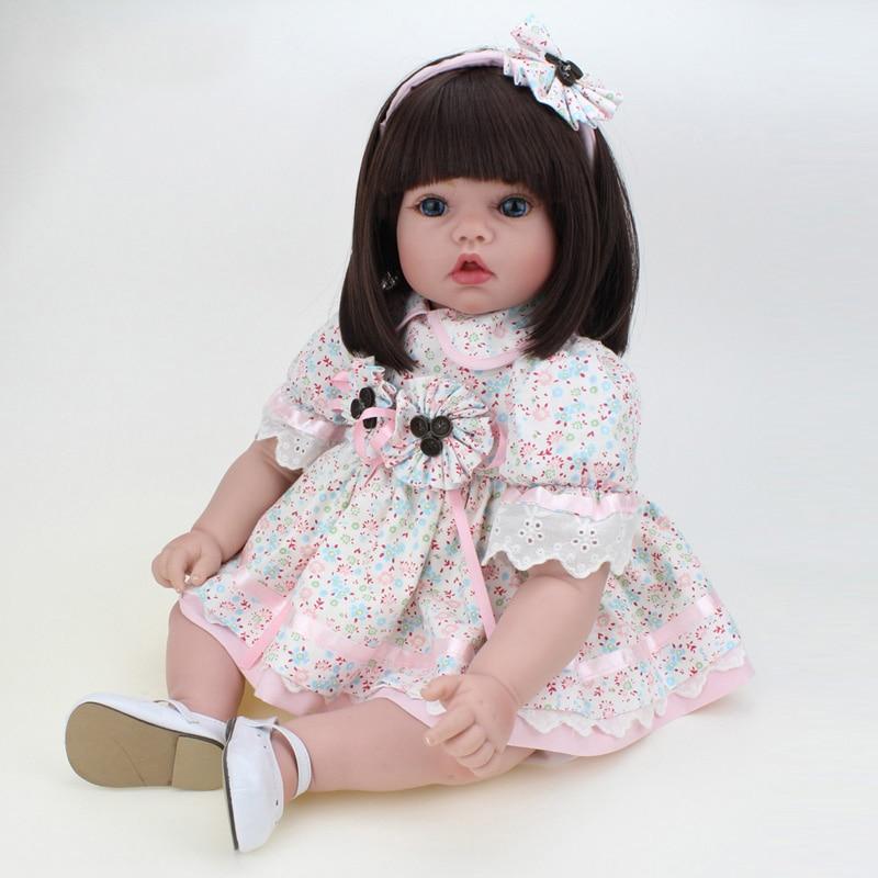 22 дюйма кукла ручной работы Reborn силиконовая виниловая Bebe куклы милая кукла девочка с одеждой медведь Menina De силиконовый детский подарок - 6