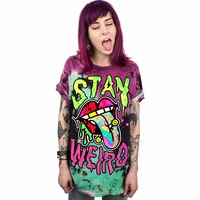 Joyonly 2018 Yaz Kadın Komik Çift Tişört Punk Rock Tarzı kalmak Garip T gömlek Kadın Erkek Moda Elbise Kadın Serin Tops