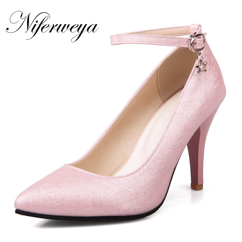 Ankle-Strap High-Heels Big-Size Pumps Sexy Ladies Shoes Pointed-Toe Pink Women Spring/autumn