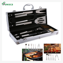 Outdoor Barbecue Accessories 6 Pieces Stainless Steel BBQ Grill Tool Set with Aluminum Storage Case Portable BBQ Tools set