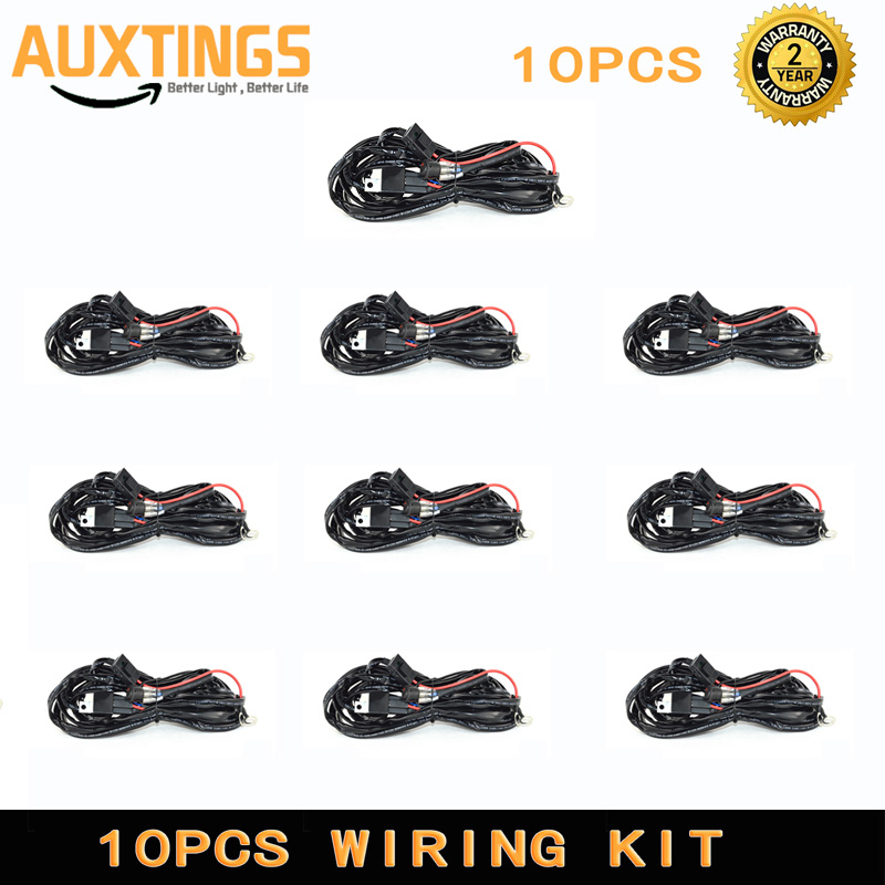 10pcs 2 5 Meter Led Light Bar Work Light Universal Relay Harness Wire Kit Switch Control