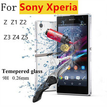 Premium 0.26mm 2.5D 9H Tempered Glass Film Explosion Proof Screen Protector For Sony Xperia Z Z1 Z2 Z3 Z4 Z5 + Cleaning Kit