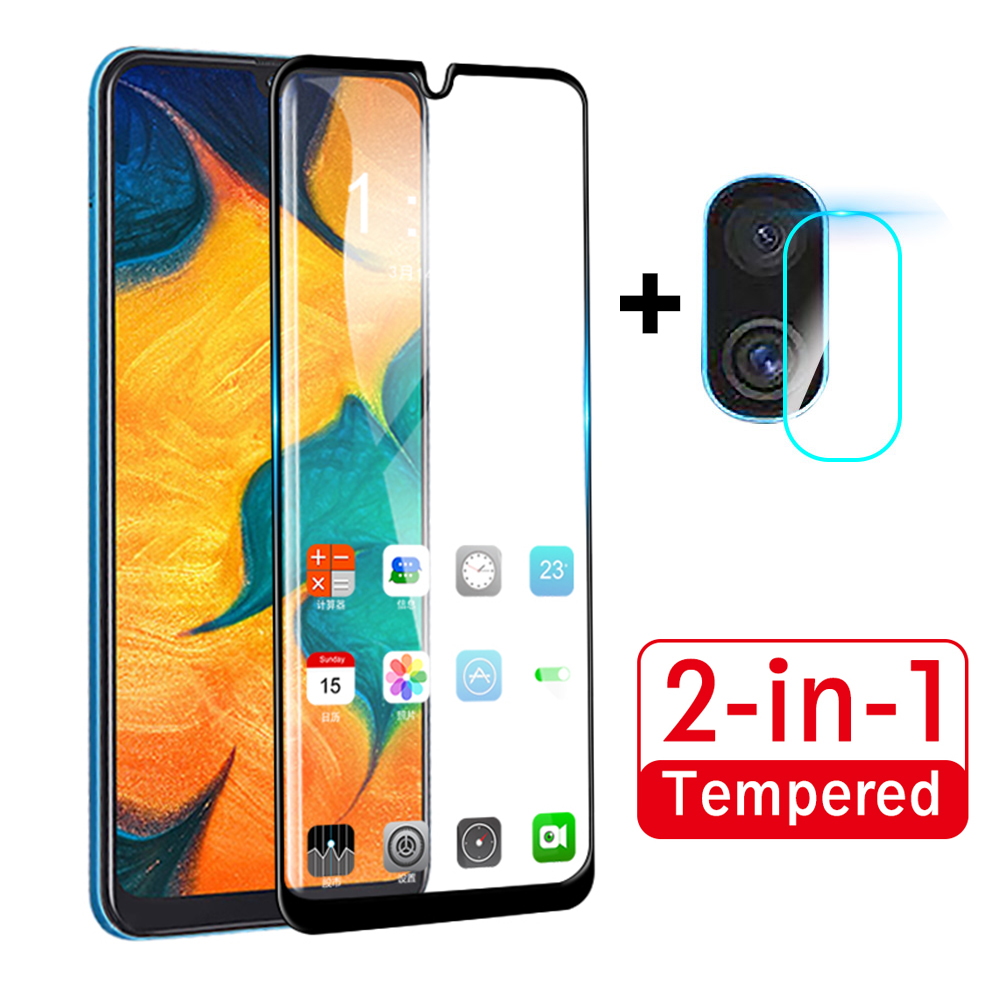 2 in 1 Full Cover Tempered Glass For Samsung Galaxy A30 A50 A60 A70 SM A305F A505F Front Glass + Camera Lens Screen Protector