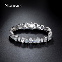 NEWBARK Oval Cut CZ Stones Sparkling Bracelet For Women Bridal Wedding Jewelry Charm Tennis Bracelets Christmas Gifts
