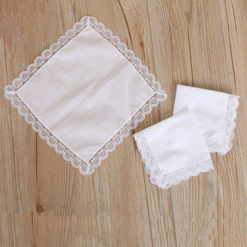 25x25cm Women Plain White Square Handkerchiefs Crochet Peach Heart Scalloped Lace Trim Bridal Wedding DIY Cotton Napkin Hankies