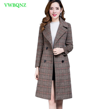 Spring Autumn Lattice Woolen Jacket Women's High quality Slim Long Wool Coat Elegant Women Fashion Double-breasted Overcoat A57