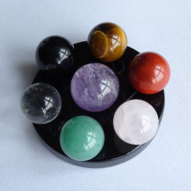 Coloré naturel petite boule de cristal/galaxie planètes système solaire modèle/Feng Shui sept étoiles tableau boule de verre décoration de la maison cadeau