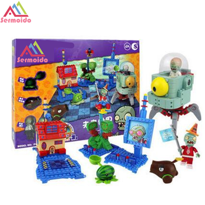 SERMOIDO Plants Vs Zombies Garden Maze Struck Game Action Toy & Figures Anime Figure Building Blocks Bricks Brinquedos Toys B13 plants vs zombies garden maze struck game legoings building bricks blocks set anime figures my world toys for children gifts