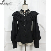 Custom Tailored Retro Style Women S Gothic Blouse Vintage Illusion Neck Long Lantern Sleeve Ruffled Blouse