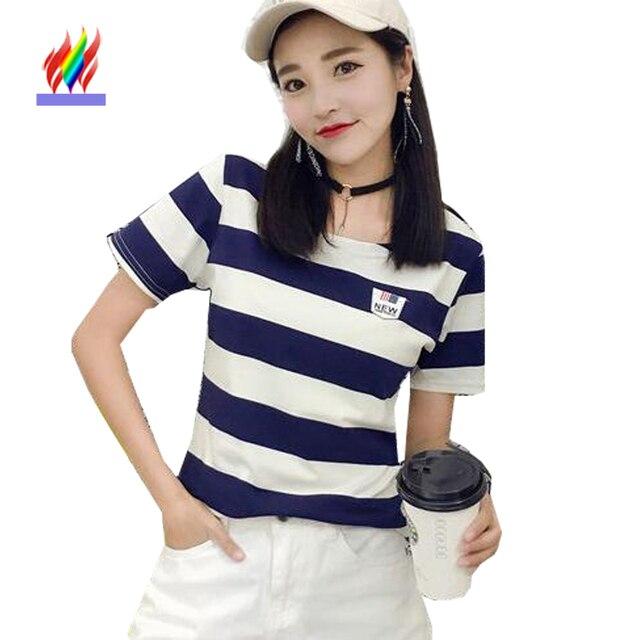 730d603d7e Cute Sweet Tops Preppy Korean Japanese Style Clothes Female Summer T-Shirts  Slim Girls Green Black Blue Striped Casual T Shirt