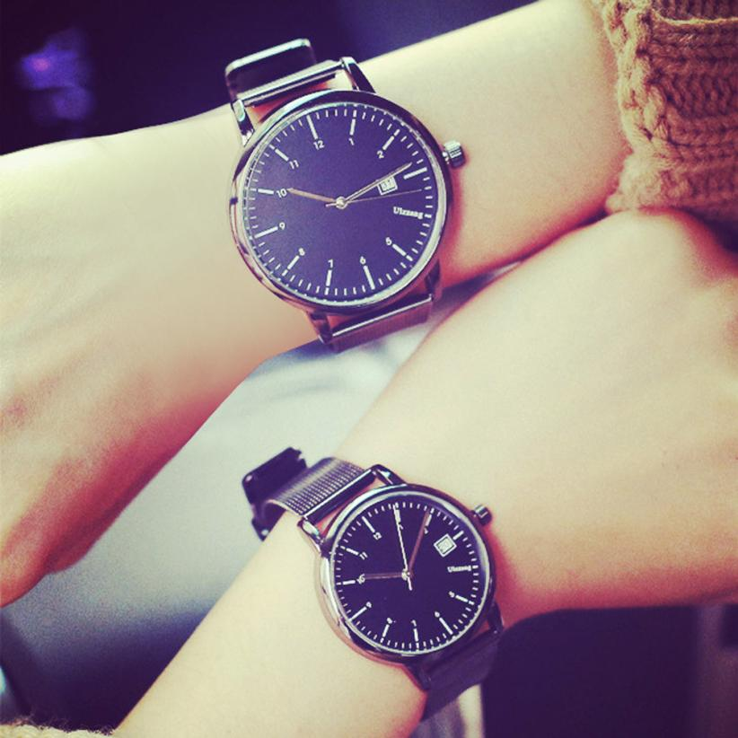 2Pcs/Pair Couple Watches Fashion Women Classic Watch Mens Watches Simple Stainless Steel Mesh Band Luxury Bracelet Lovers' Gift fashion stainless steel band quartz wrist watch for couple silver 2 x sr920 pair