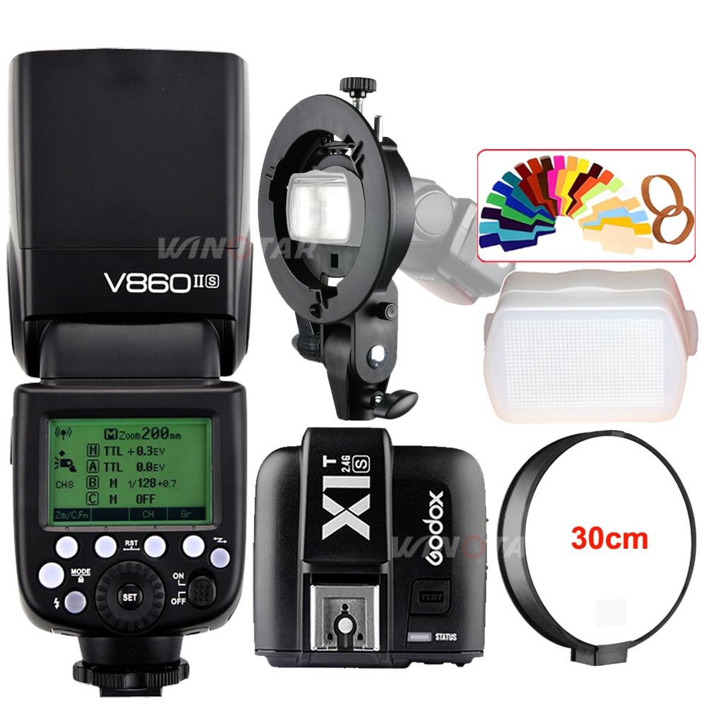 Godox V860II-S E-TTL HSS caméra Flash Speedlite + transmetteur de X1T-S + Bowens s-type support pour Sony DSLR A7R A7RII A58 A99 A6000