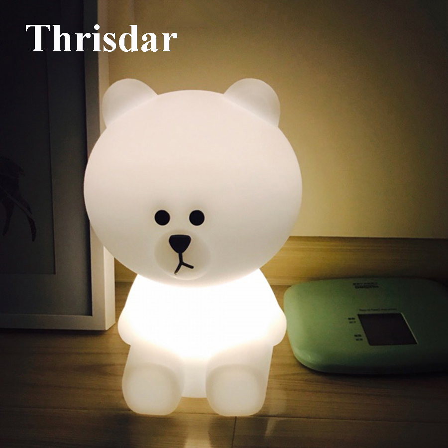 Thrisdar Dimmable Cute Bear Rabbit Led Night Light Baby Sleeping Night Light Kid Children Baby Birthday Xmas Gift Warm White livewin warm white led night light cute night lamps for baby children kids gift bedroom bedside home decor dimmable lamparas
