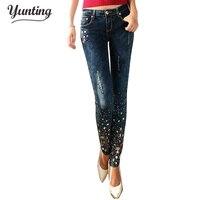 יהלומי נשים אופנה קדח חור שבור נשי ג 'ינס עיפרון רגליים מכנסיים ארוכים ג' ינס כחול כהה עם יהלומים מלאכותיים