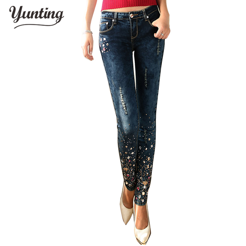 Fashion Women Diamond Drilled Jeans Female Broken Hole Feet Pencil Pants Long Dark Blue Jeans With Rhinestone