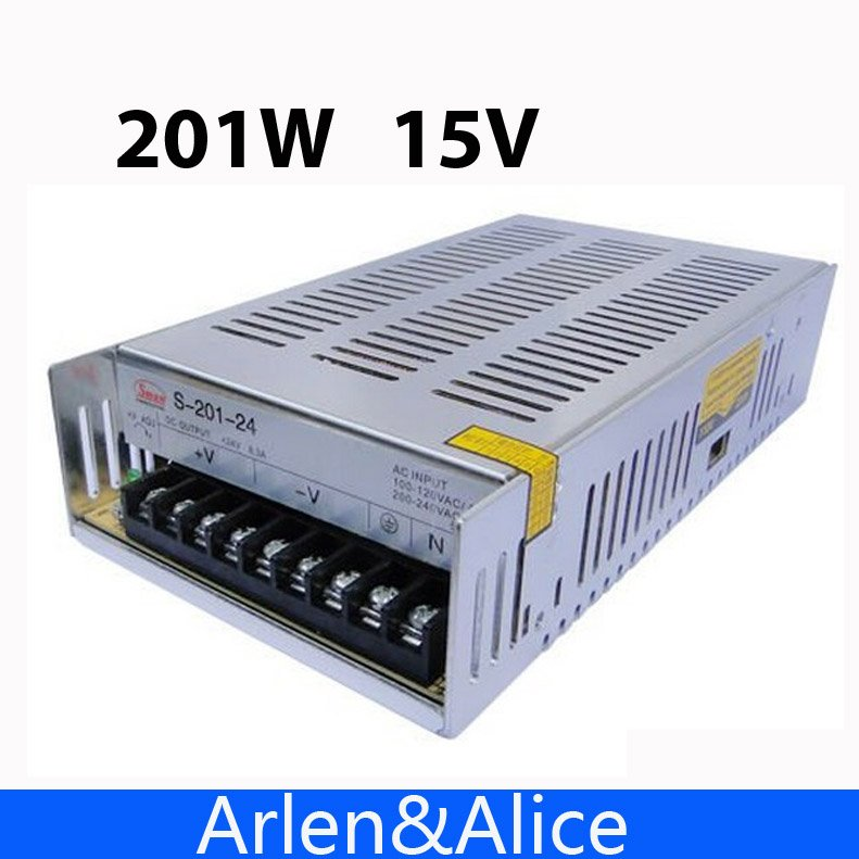 201W 15V 13A Single Output Switching power supply for LED Strip light AC to DC 201w led switching power supply 85 265ac input 40a 16 5a 8 3a 4 2a for led strip light power suply 5v 12v output