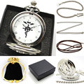 Nova Prata Fullmetal Alchemist Relógio de Bolso de Quartzo Colar de Couro Cadeia Saco Caixa de Relogio De Bolso P421CKWB