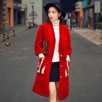 European and United States long style Merino sheep fur overcoat women winter coat female real lamb fleece fur coat free shipping