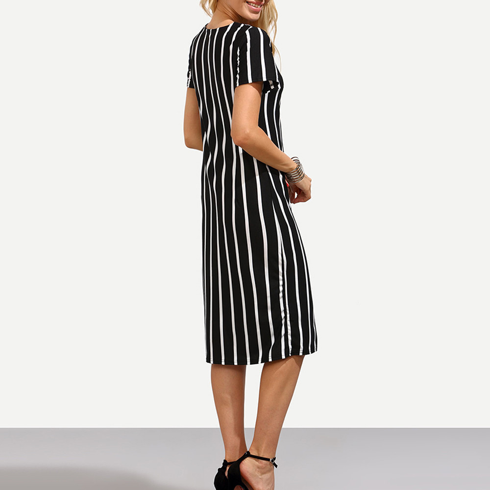 Free Ostrich Black and White Contrast Wide Stripe Pencil Dress Women Autumn Elegant Short Sleeve O Neck Knee Length Dress D2035
