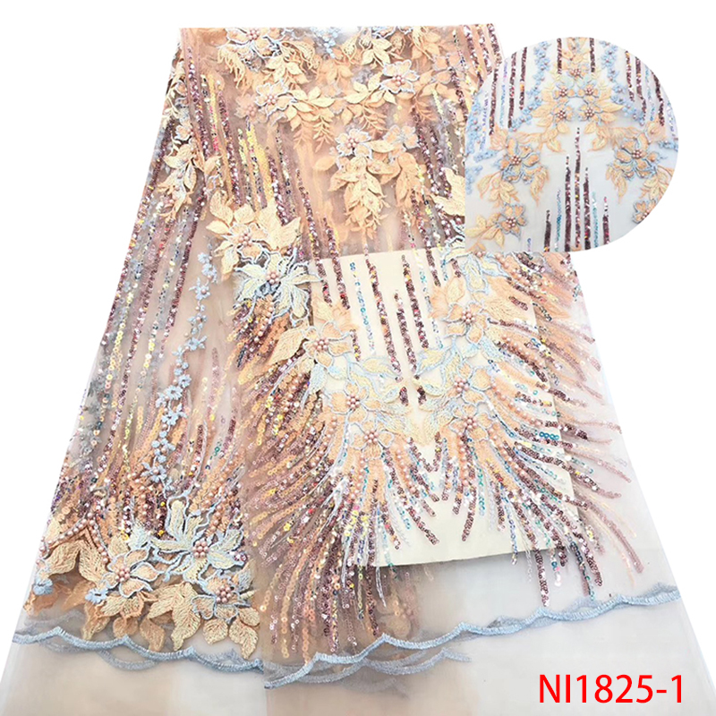Nigerian Sequins Lace Fabrics 2019,High Quality African Lace Fabric For Wedding,French Net Lace Fabric With Beads KSNI1825-1