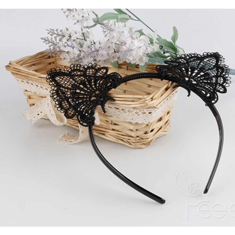 Women 39 s cute hair with a headdress cat ears sexy hairpin water soluble lace bunny hair accessories fine teeth headband fun in Women 39 s Hair Accessories from Apparel Accessories