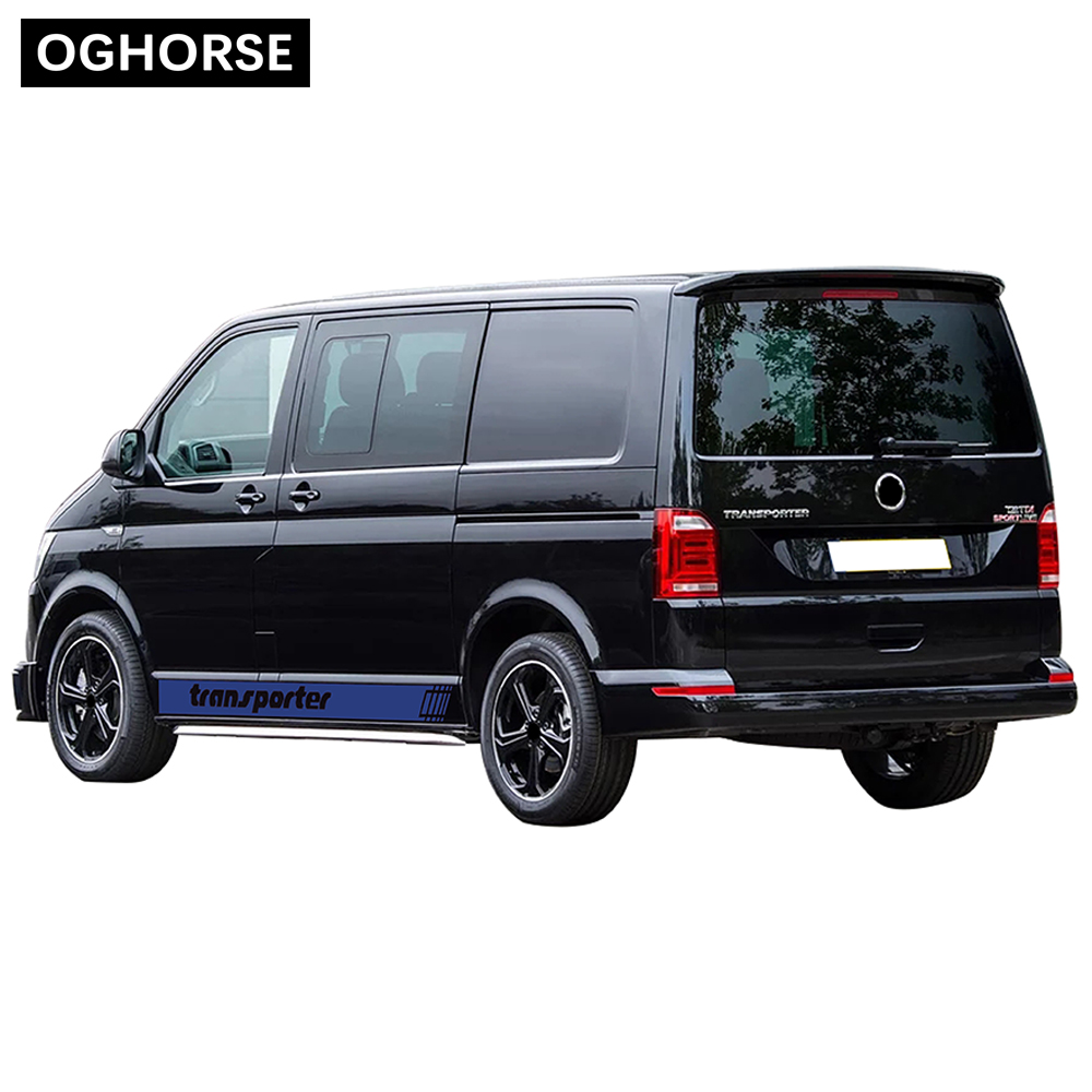 2 Pcs Door Side Stripes Skirt Sticker Racing Stripes Graphics Body Vinyl Decal For Volkswagen TRANSPORTER T4 T5 T6 Accessories in Car Stickers from Automobiles Motorcycles