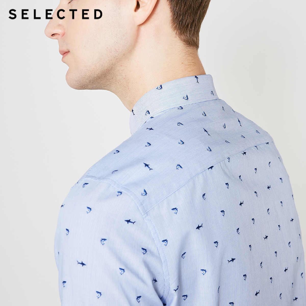 SELECTED 남성 슬림 피트 자수 코튼 반소매 셔츠 S | 419204511