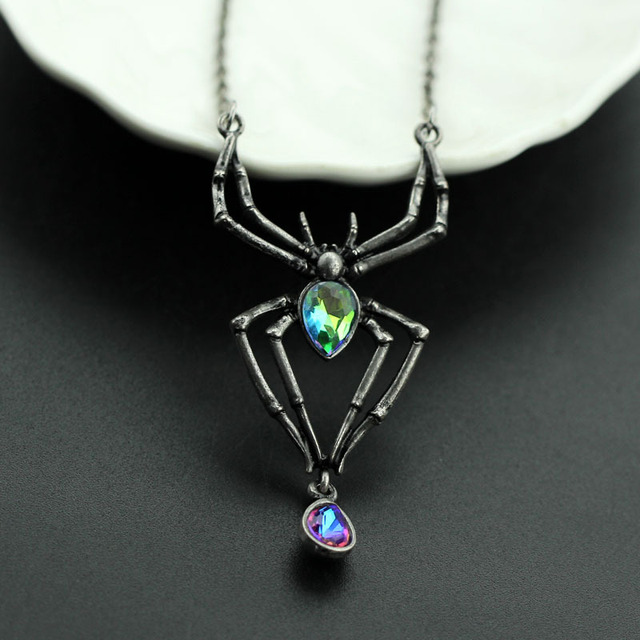 vintage halloween costume black spider green crystal chain necklace gothic punk retro pendant necklace jewelry for