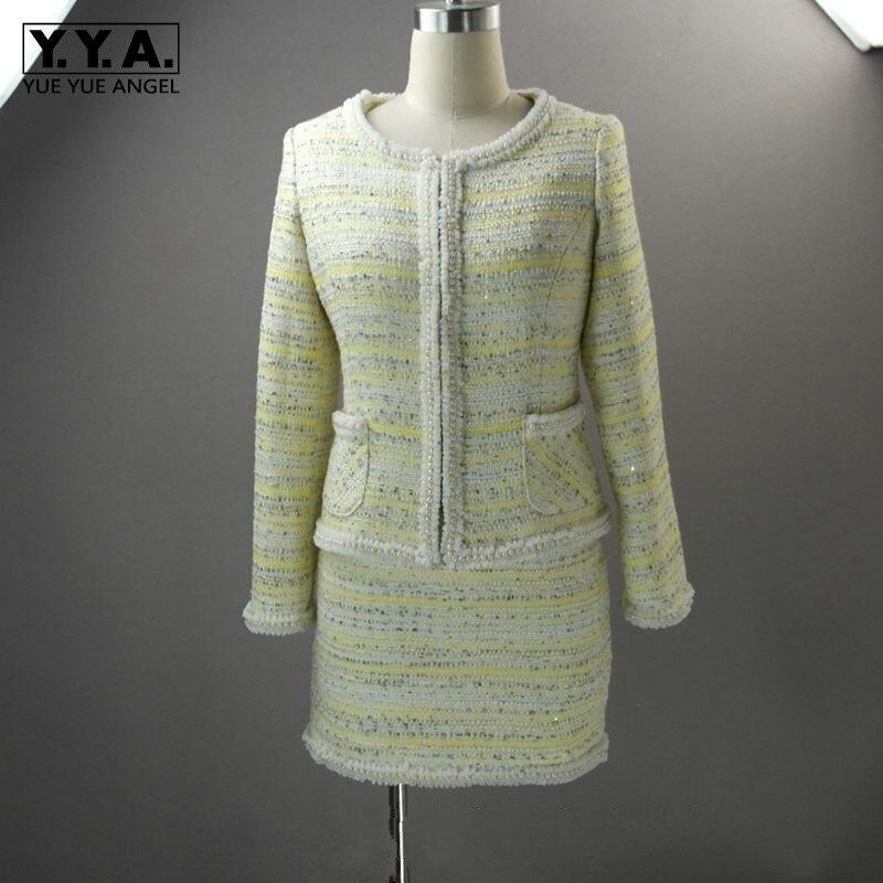 Роскошный брендовый комплект из двух предметов с юбкой и бусинами, Подиумные облегающие топы с длинными рукавами + мини юбка, деловой Повсед