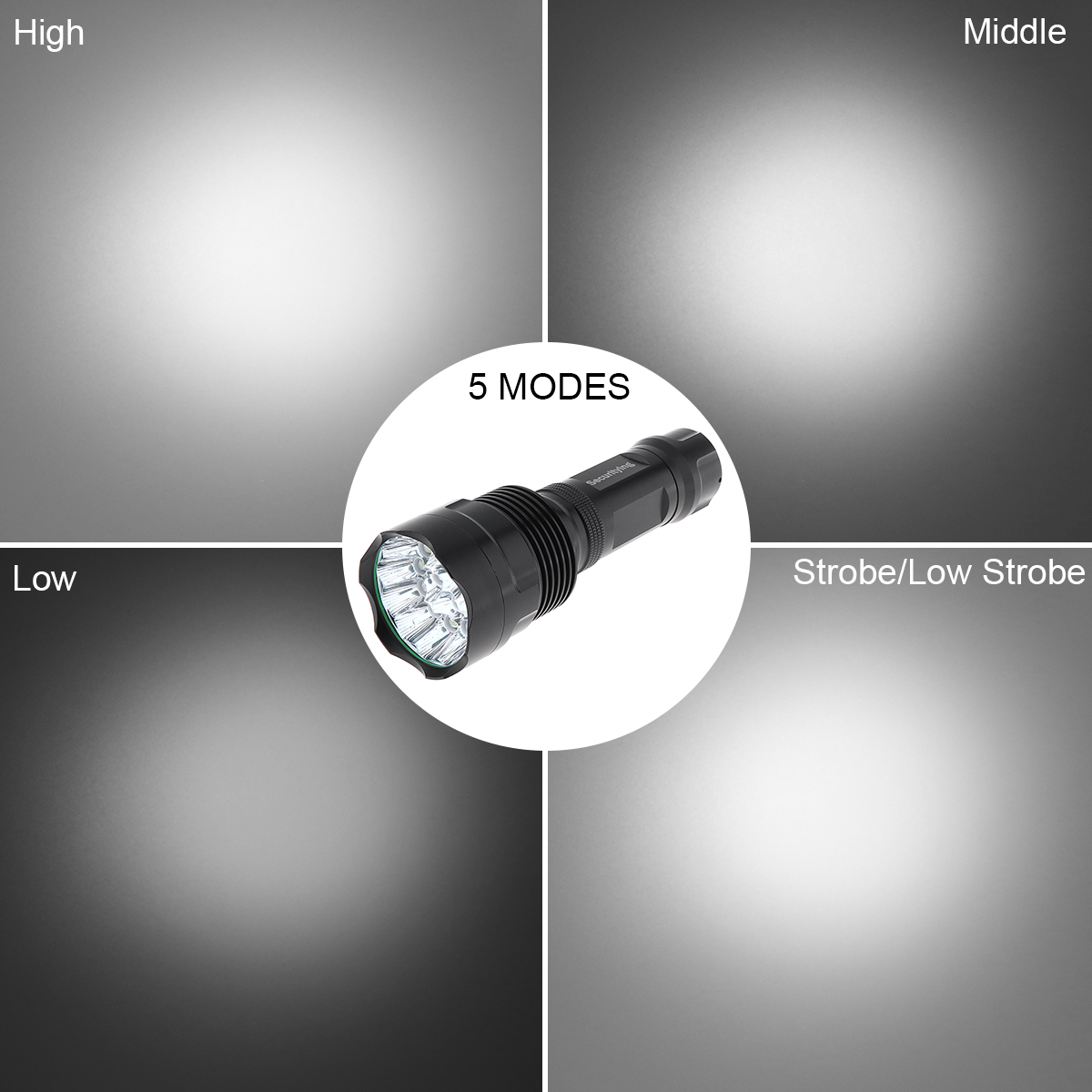 SecurityIng Waterproof LED Flashlight with 5 Modes Light Super Bright 15 LEDs Flash Lamp Support 18650 Rechargeable Battery in LED Flashlights from Lights Lighting