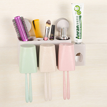 Fashion Suction wall type 3 person washing storage set with toothpaste squeezing device 29*12.3*6cm free shipping