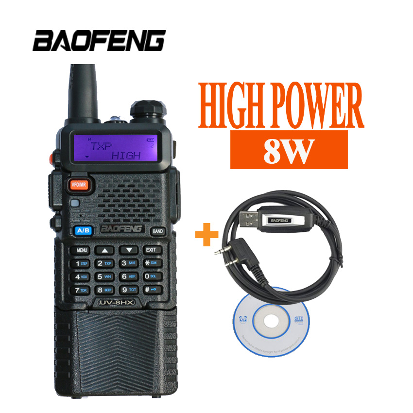Berburu Portabel Walkie Talkie Set Ham Radio UV-8HX Stasiun UV 5R - Walkie talkie
