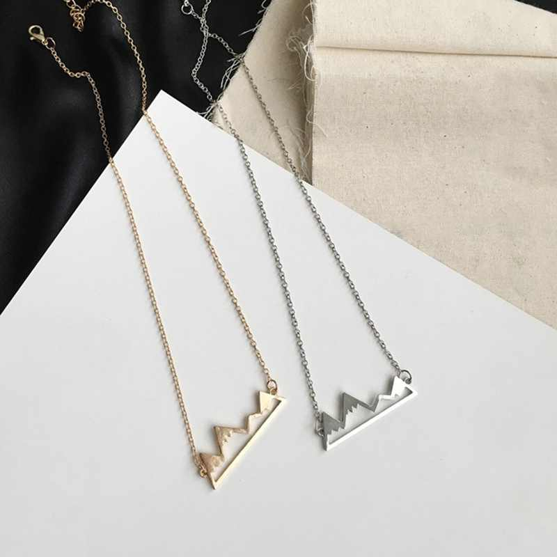 Gold/Silver Minimalist Mountain Top Pendant Snowy Mountain Necklace Hiking Outdoor Jewelry Mountains Climbing Gifts