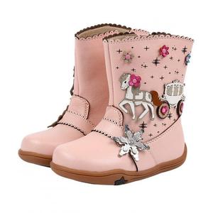 Image 2 - Кожаные ботинки для маленьких девочек на осень и зиму, плюшевые детские ботинки до середины икры, модные римские ботинки, водонепроницаемые резиновые ботинки для детей ясельного возраста