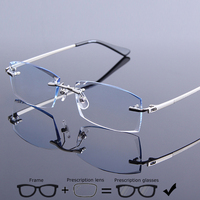 High Quality Rimless Frame Eyeglasses Men Exquisite Diamond Trimming Hyperopia Eyewear Prescription Frameless Myopic Glasses 611