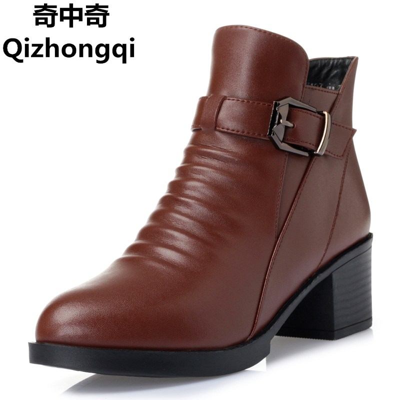 Women's boots 2017 winter new genuine leather women boots thick wool warm cotton shoes plus size 35-43 # naked boots women цены онлайн
