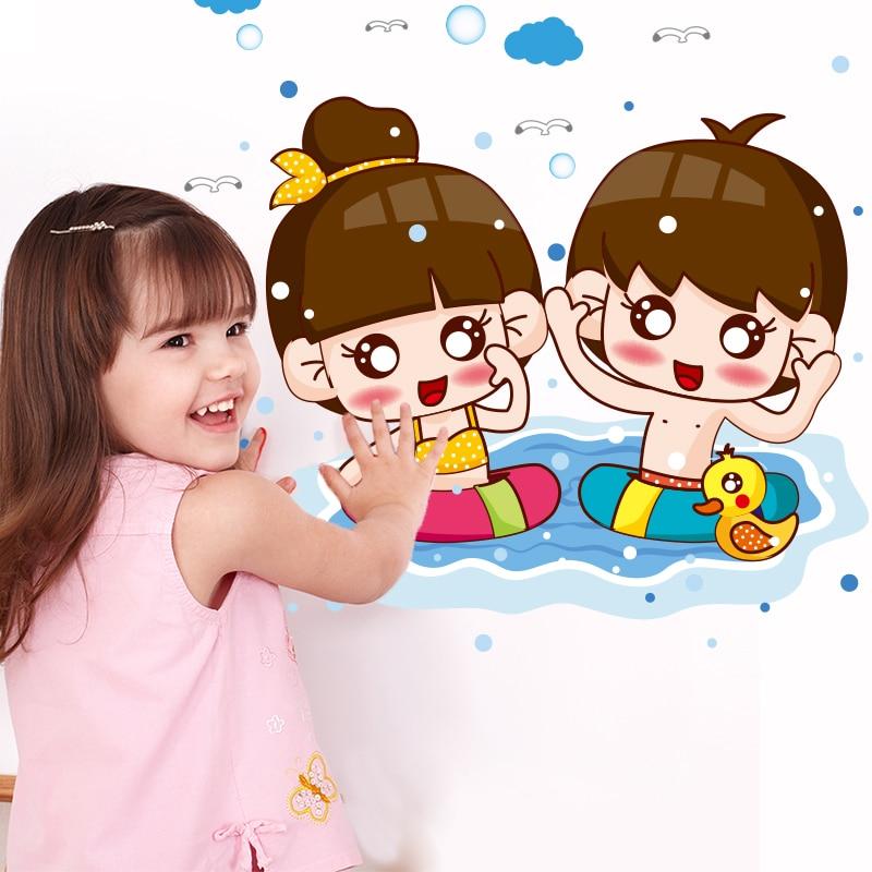[SHIJUEHEZI] Children Swimmer Wall Stickers Vinyl DIY Cartoon Wall Decal for Kids Room Swimming Pool Beach Decoration