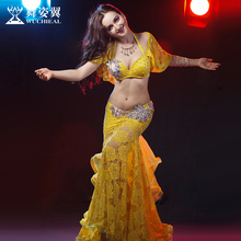 2016 Wuchieal Brand Women Cotton High Grade Bellydance Costumes 2017 New Woman Belly Dance Performance Top Bra+skirt Suits 2630