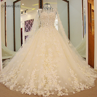 LS54779 Champagne Wedding Dress With Long Cape Appliqued Flowers Korean Wedding Dress Lace Ball Gown Robe