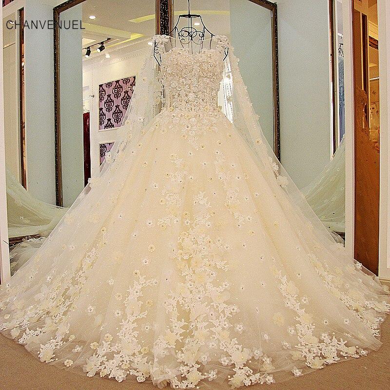 LS54779 šampanjca poročna obleka z dolgimi ogrinjali aplicirano cvetje korejska poročna obleka čipka kroglična obleka robe de mariage luxe 2016