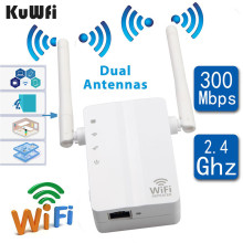KuWFi Wireless N Wifi Repeater 802.11n/b/g Network Router Long Distance Expander 300Mbps 2dbi Antennas Signal Boosters