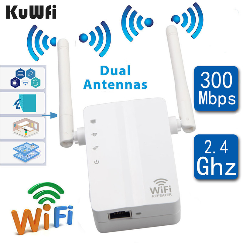 KuWFi Wireless N Wifi Repeater 802.11n/b/g Network Router Long Distance Wifi Expander 300Mbps 2dbi Antennas Signal Boosters
