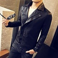 Inclined Zipper Mens Motorcycle Jacket Leather Slim Fit Black 2017 Spring Autumn New Fashion Plus Size veste cuir homme