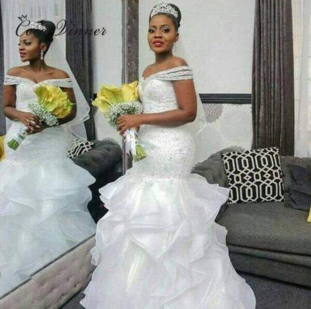 Cap Sleeve Beautiful Crystal Beading Africa Wedding Dress Pure Whi...