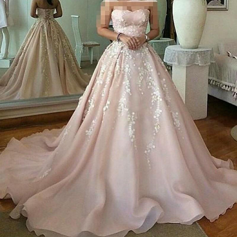 2017 Gorgeous Dirty Pink Wedding Dresses Sexy Strapless Organza A Line Gowns With White Flowers Vestidos De Noiva In From Weddings