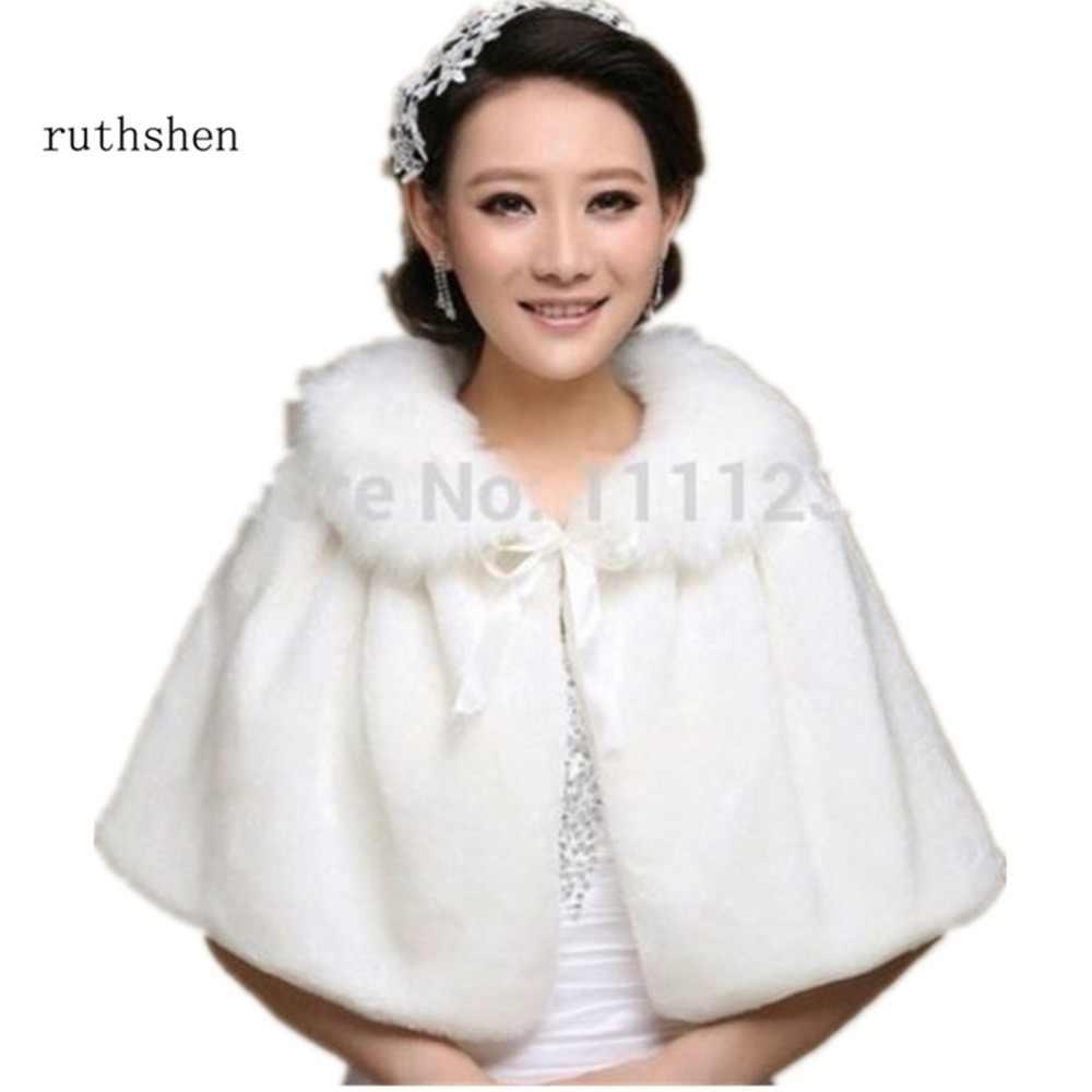 Ruthshen חדש שנהב פו פרווה כלה חתונת Jacket גלישת משיכת הכתפיים בולרו גלישת צעיף קייפ DS0625
