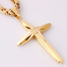 Personality Design Christian Jesus Cross Pendant Stainless Steel Golden 5mm Vintage Byzantine Chain Necklace Men's Boy's Jewelry
