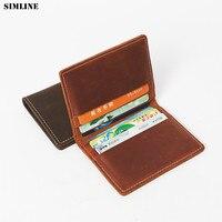 SIMLINE Crazy Horse Genuine Leather Card Holder Men Vintage Handmade Short Business Credit Card Holders Mini Wallet Purse Case