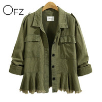 OFZ 2017 Autumn Winter Plus Size 5XL Women Long Sleeve Jackets Vintage Tassels Ladies Coats Cotton Army Green Skirt Outerwear